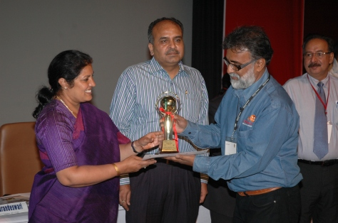 Receiving the trophy for Motto (Finalist) in the KVS Akshar Aakar competitions at the National Level from Honourable, Minister of State, Ministry of Human Resource Development Government of India Mrs. Daggubati Purandeswari. New Delhi 07 May 2011