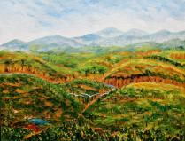 The painting Acrylic on Canvas presented to Chairman VMC Group Capt Anuj Gupta during Annual Day 2016 Kendriya Vidyalaya Air Force Station Laitkor Peak Shillong 10