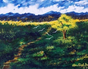 2003: Painting in Acrylic, presented to Mr. S.S.Sehrawat, AC KVS Guwahati Region