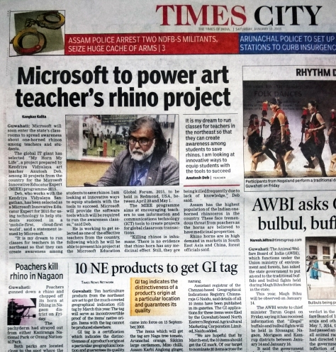 TIMES OF INDIA GUWAHATI ISSUE DATED 10 JANUARY 2015